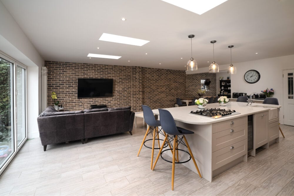 Modern open plan kitchen and living space in new prime near build property near High Wycombe