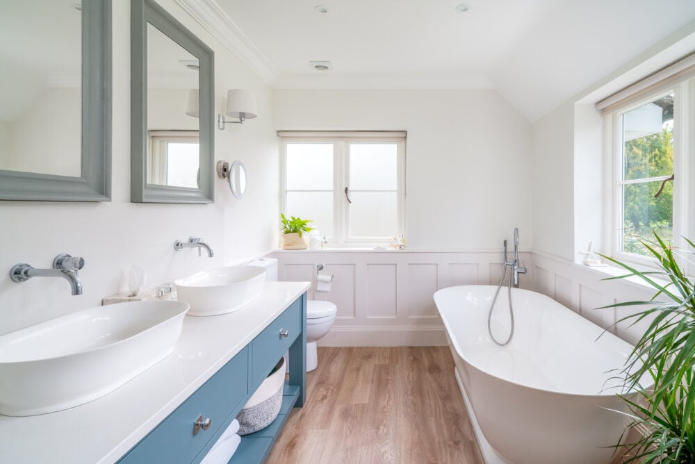 High end bathroom with freestanding bath tub in a prime property near Berhamsted, Hertfordshire