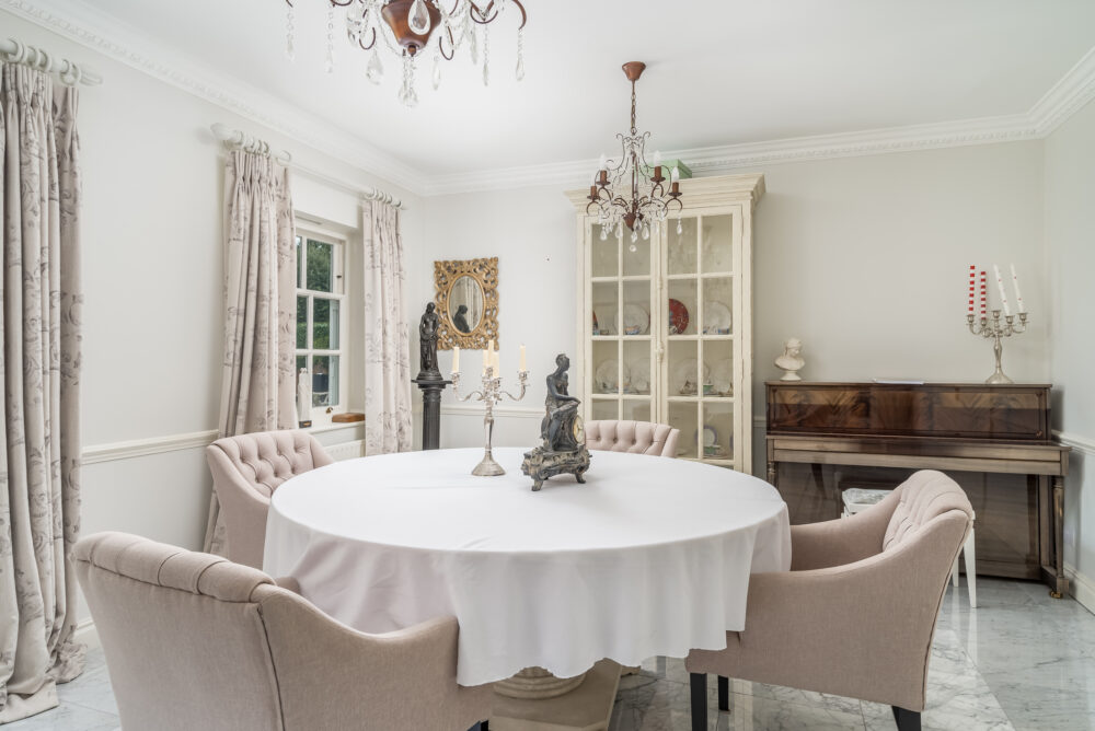 Sumptuous dining room interior in prestige South Buckinghamshire property