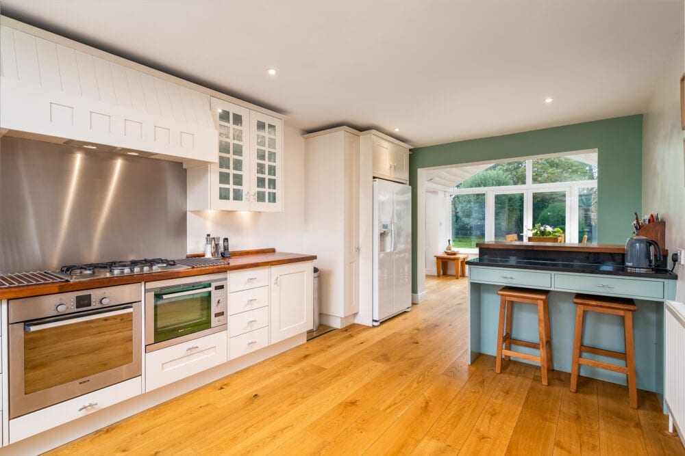 High end open plan kitchen and dining area in a prime Buckinghamshire property